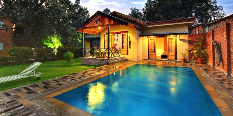 resorts in jim corbett with private swimming pool